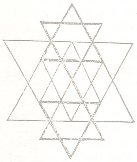 image of the Sri Yantra or 3 Stars of David within a larger Star of David.